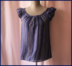 Anthropologie-Blouse-Size-2-By-Edme-Esyllte-Cap-Sleeves-Striped-Casual