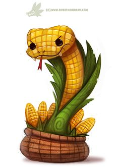 Daily Paint #1172. Corn on the Cobra by Cryptid-Creations Time-lapse, high-res and WIP sketches of my art available on Patreon (: