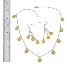 ***MARK DOWN***YELLOW JASPER SET CHRISTMAS SALE**FINAL MARK DOWN***NWT-GENUINE YELLOW JASPER NECKLACE AND EARRING SET-- SET IN 925-STERLING SILVER Jewelry Necklaces