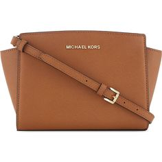 MICHAEL MICHAEL KORS Selma medium leather messenger bag ($320) ❤ liked on Polyvore featuring bags, messenger bags, accessories, purses, luggage, brown bag, strap bag, michael michael kors, zipper bag and courier bag