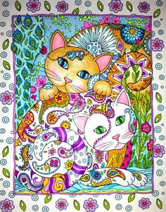 Garden Cats Hand Painted OOAK art by an established artist, mixed media on an adult coloring book page,Beautiful with great details, 11X14