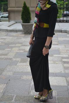 hijab fashion, bright colors, wedges