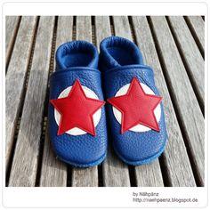 Schuhe - Lederpuschen Gr. 24/25 - ein Designerstück von Frau-Naehpaenz bei DaWanda