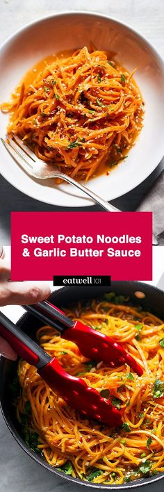 These sweet potato noodles are so easy and a fun way to eat more vegetables. Garlicky sweet potato noodles take the place of traditional pasta in this healthy recipe, for a more fulling and nutriti… (Sweet Potato Recipes) Sweet Potato Noodles, Veggie Noodles, Garlic Noodles, Parmesan Noodles, Fun Noodles, Zucchini Noodles, Zoodle Recipes, Vegetarian Recipes, Healthy Recipes