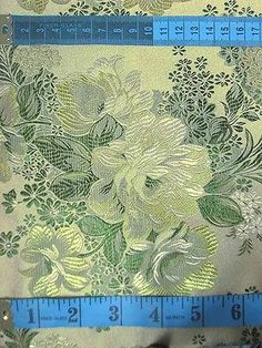 Chinese Artificial Silk Gold Green Floral Brocade Upholstery Fabric Meter | eBay