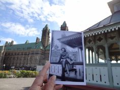 Dear Photograph,  I lookedat youandheld you up and there she was, my mother posing gracefully in the early 1950's on the railingof theoriginal Summer Pavilion at Parliament Hill. A few years later it was demolishedand now they haverebuilt an exact replica in the exact same spot, where I can go and enjoy the same view,sitting on the railing, posing gracefully just like my mother.  Cecile