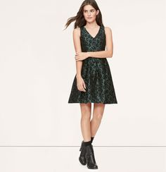 Loft Leopard Jacquard Flare Dress ($98)