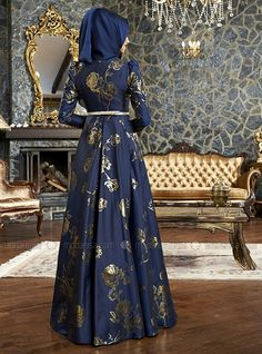 Rose Pattern Jacquard Evening Dress - Navy Blue - Mevra
