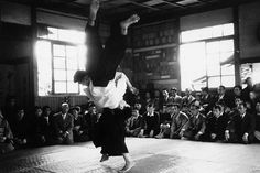 """Yoshio Kuroiwa Sensei - """"Because it's no use throwing them if they just get up again. I thought that dropping them on their heads would be the best way damage them."""". More in """"Interview with Aikido Shihan Yoshio Kuroiwa – Part 1"""", on the Aikido Sangenkai blog: http://www.aikidosangenkai.org/blog/interview-aikido-shihan-yoshio-kuroiwa-part-1/"""
