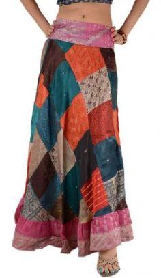 Women Long Skirt Satin Silk Gypsy Bohemian Panel Patch Work Skirt Multi Colored