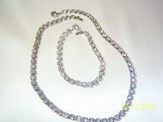 Vintage Classic Diamante Necklace and Bracelet Set by CalicoCandys, $24.00