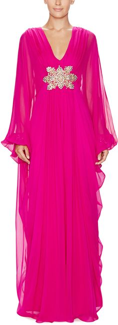 Silk Embellished Kaftan Dress by Marchesa. Love Love Love