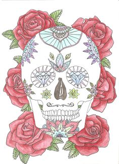watercolour drawing of a Mexican skull with roses
