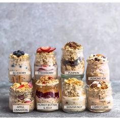 9 Best Easy Overnight Oats with tips on how to cook the perfect simple oatmeal for busy mornings. Healthy, delicious, gluten free & easy to customize with your favorite flavors. Make ahead the night before for meal prep Sunday with less than 5 minutes. Almond Joy, Apple Cinnamon, Banana Nut, Blueberry, Carrot Cake, Peanut Butter & Jelly, Pumpkin Cranberry, Strawberry & Keto #overnightoats