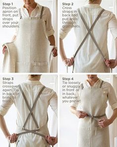 An Oyster White linen apron is the classic choice for many professional cooks and servers. And it is more practical than you may think, as linen resists dirt and stains are easy to remove. This apron Sewing Aprons, Sewing Clothes, Diy Clothes, Linen Apron, Apron Diy, Bbq Apron, Apron Designs, Kitchen Aprons, Sewing Projects For Beginners