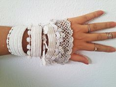 White Crochet Beaded Wedding CuffCrochet by SESIMTAKI on Etsy
