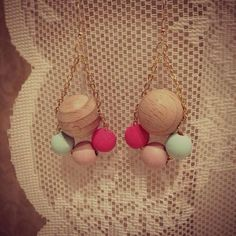 Diy wooden pearl earrings