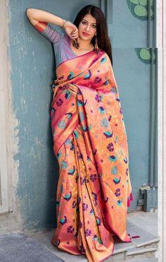 Silk Kanjivaram Saree With Blouse Piece Indian Traditional Women Sari 7379 Kanjivaram Sarees, Art Silk Sarees, Brocade Lehenga, Dark Peach Color, Mode Bollywood, Indian Bollywood, Indian Ethnic Wear, Indian Attire, Indian Style