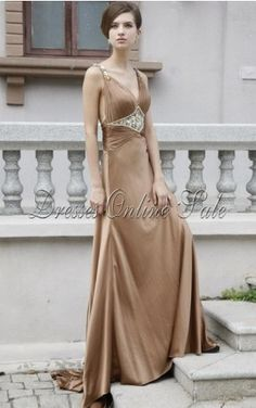 Brown A-line Floor-length V-neck Dress