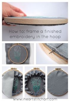 Tutorial from www.iheartstitchart.com on how to neatly frame a finished embroidery in the hoop. For hand embroidery.
