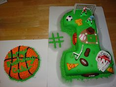 boys sports first birthday cake by Charley And The Cake Factory, via Flickr
