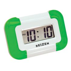 "Reizen Shake U Up- Compact Vibrating Alarm Clock - Alarm Clocks - MaxiAids  Discreet vibrating alarm with snooze Alternate choice of audible beep alarm Backlit LCD with 0.50"" black numbers Measures 3"" wide x 2"" high x 0.625"" thick Uses one AAA battery (not included)"