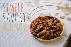 Simple Savory Walnuts   Feed Your Skull Walnut Recipes, Seeds, Cooking Recipes, Skull, Snacks, Holidays, Healthy, Breakfast, Simple