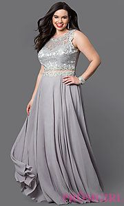 Image of long plus prom dress with sheer-waist lace bodice. Style: DQ-9322P Front Image