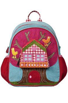 This backpack is the cutest thing ever. I love colorful and whimsical and treehouses. (Room Seven USA: New Fall 2012 Collection)