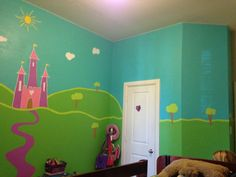 Princess castle mural I painted for Sophia's room.