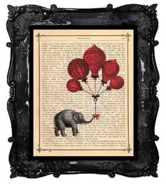 Vintage Elephant and French Hot Air Balloons Print A Gift for You on an Antique 1890 Book Page Print, BlackBarogue