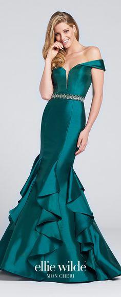 Prom Dresses 2017 - Ellie Wilde for Mon Cheri - emerald green off-the-shoulder mermaid prom dress - Style No. EW117034