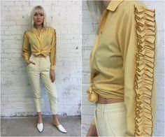 70s mustard yellow ruffle sleeve pearl snap western shirt / matador minimalist style by dustyrosevintage on Etsy
