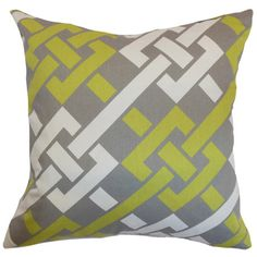 Set of two plush down pillows with a graphic links motif in green, graphite, and white.  Product: Set of 2 pillowsConstru...