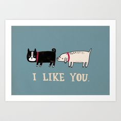 I Like You. Art Print by Gemma Correll