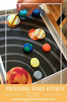 Learning about the planets in our solar system is easy with this fun DIY planet magnet activity. Perfect for any space themed tot school, preschool or home school unit! Visit www.NuggetandGoose.com to learn more and download a free set of printable play mats to go with it!