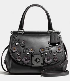 Coach DRIFTER top handle satchel with willow floral applique 54079 $750.00