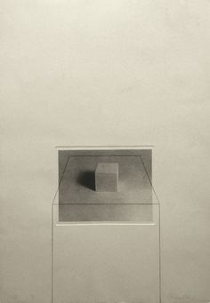 Liliana Porter Untitled with Cube (1974) Photo etching and pencil Plate size…