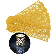 6pcs Paper Laser Cut Heart LED Tea Light Holders Lampshade Wedding Home Party Decoration