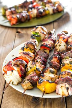 Delicious combination of beef sirloin and veggies on a skewer, basted with a herb and lemon marinade.