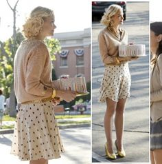 Lemon's heart print skirt and gold glittery shoes on Hart of Dixie - the height of a preppy southern lady
