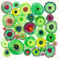 Large Canvas Abstract Print  Green Circles   by IlseBernthalArtist, £145.00