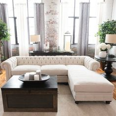Darby Home Co Fiske Sectional Collection Living Room Interior, Home Living Room, Living Room Designs, Luxury Homes Interior, Home Interior Design, European Home Decor, Up House, Luxury Living, Home Decor Accessories
