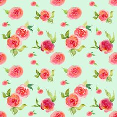 Feminine Fabric - Red Roses Mint - Floral Print By Shopcabin - Boho Cotton Fabric By The Yard With Spoonflower
