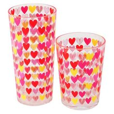 Valentine's Multi-Hearts Plastic Tumbler Set of 6 - Multicolor (Small)