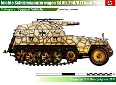 Sd.Kfz.250/8 Stummel: Leichte Schützenpanzerwagen (7.5cm): This was the SPG version, carrying the short barrel 75mm KwK-37 L/24 howitzer and later, a K51(Sf) with 20 rounds in store. Production started in the spring of 1943 with the Alte chassis, and then switched to the Neu chassis in 1944.