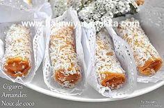 CIGARE سيجار رااقي بجوز الهند  couscousetpuddings الطريقة في الرابط: http://www.halawiyat-malika.com/2015/12/cigare.html