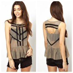 Free People Lace Peplum Free People X Eley Kishimoto Lace Stripe Peplum in Gold. Size small, may also fit a medium. Like-New condition Free People Tops Tank Tops