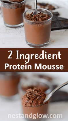 2 Ingredient Chocolate Protein Mousse Amazing two ingredient vegan protein mousse. So easy to make this healthy chocolate mouse that is free of any dairy and made from just dark chocolate and beans. Full of nutrition and plant protein Vegan Sweets, Healthy Dessert Recipes, Healthy Desserts, Healthy Drinks, Gourmet Recipes, Vegan Recipes, Vega Protein Recipes, High Protein Desserts, Healthy Chocolate Snacks