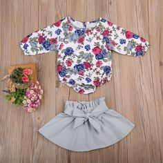 195065558d9 Infant Baby Girl Long Sleeve Floral Romper Bowknot Dress Skirt Casual  Toddler Baby Girl Clothes Set Outfit 612 Months Blue     Click image for  more details.